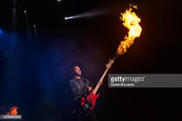 Pete Wentz of Fall Out Boy performs during The Mania Tour at Wrigley Field on September 8 2018 in Chicago Illinois