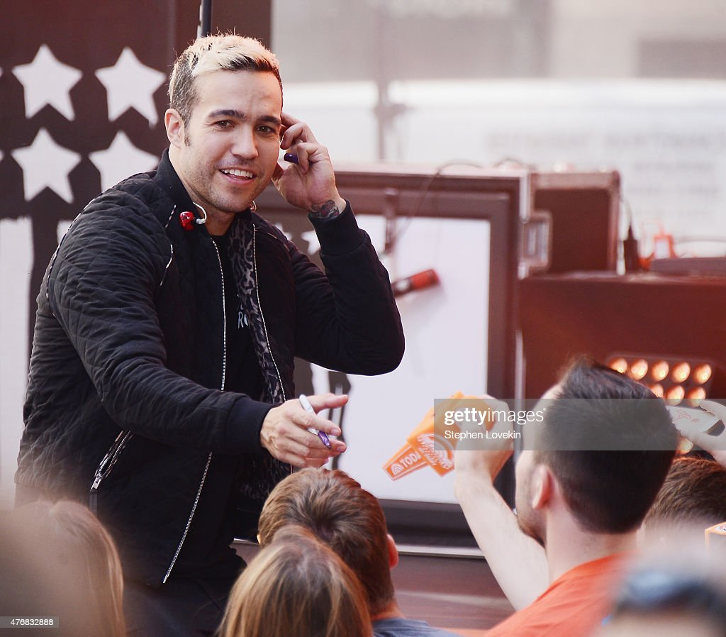 Pete Wentz of Fall Out Boy signs autographs for fans on NBC's 'Today' at the NBC's TODAY Show on June 12, 2015 in New York, New York.