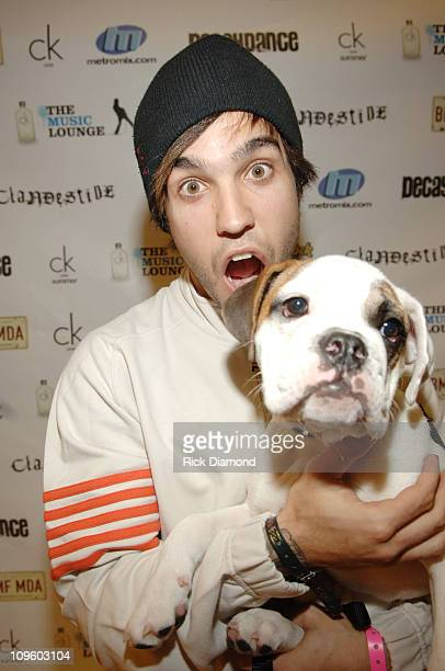 Pete Wentz of Fall Out Boy with his dog Einstein during Metromix.com Presents Official After Party at the ck one Music Lounge with Pete Wentz of Fall...