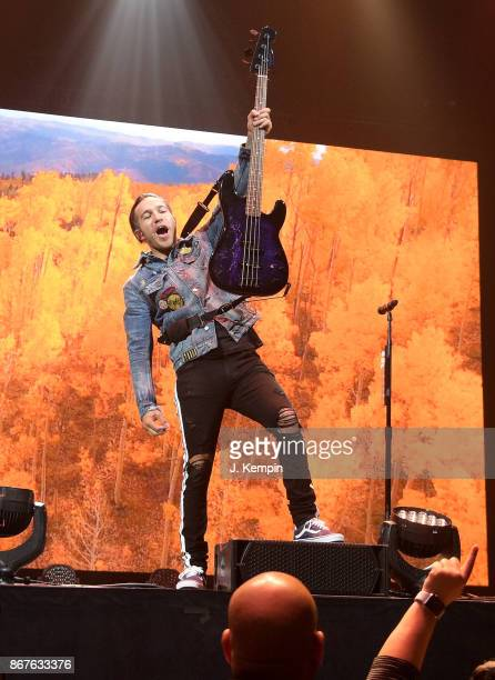 Pete Wentz of the band Fall Out Boy performs at Barclays Center of Brooklyn on October 28 2017 in the Brooklyn borough of New York City