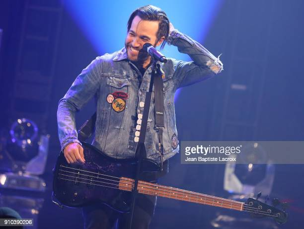 Pete Wentz of the Fall Out Boy performs on stage during the iHeartRadio Album Release Party With Fall Out Boy on January 26 2018 in Burbank California
