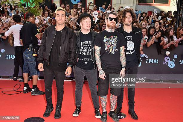 Pete Wentz Patrick Stump Andy Hurley and Joe Trohman of Fall Out Boy arrive at the 2015 MuchMusic Video Awards at MuchMusic HQ on June 21 2015 in...