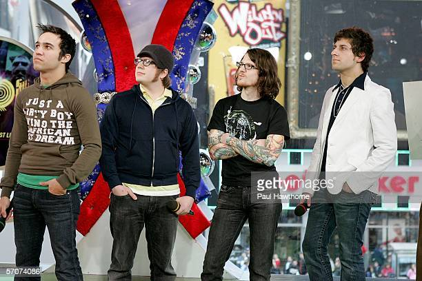 Pete Wentz, Patrick Stump, Andy Hurley and Joe Trohman of Fall Out Boy appear on MTV's Total Request Live at MTV's Time Square Studios March 13, 2006...