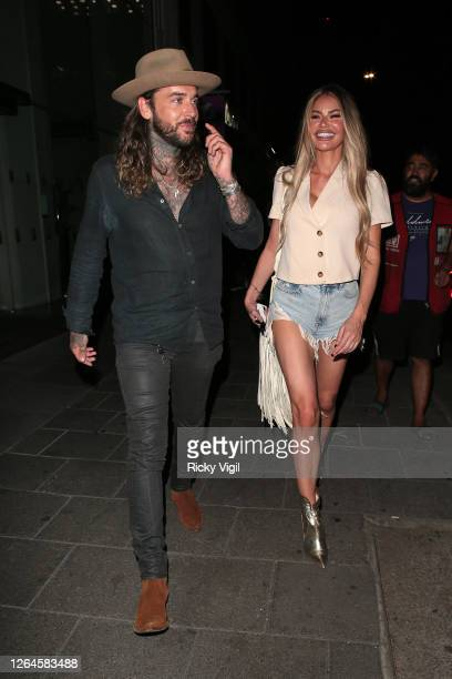 Pete Wicks and Chloe Sims seen on a night out at Amazonico restaurant in Mayfair on August 07, 2020 in London, England.