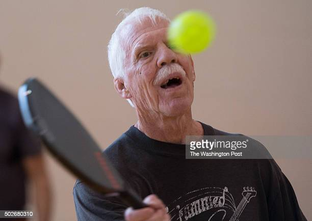 Pete Wylie hits a ball on the volley during open pickle ball play at Sherwood Recreation Center in Washington DC on Dec 3 2015 In October Washington...