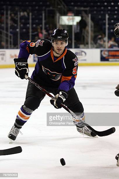 Pete Zingoni of the Philadelphia Phantoms takes a face off during the second period against the Bridgeport Sound Tigers on January 23, 2008 at the...