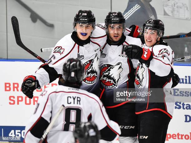 Peter Abbandonato of the Rouyn-Noranda Huskies celebrates his second period goal with teammates against the Blainville-Boisbriand Armada during the...