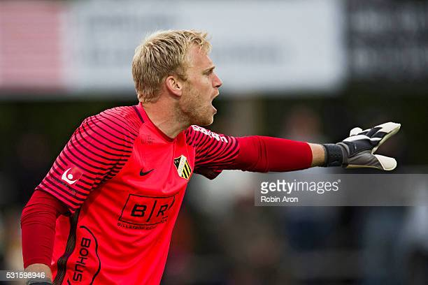 Peter Abrahamsson goalkeeper of BK Hacken instructs during the Allsvenskan match between Falkenbergs FF and BK Hacken at Falkenbergs IP on May 15...