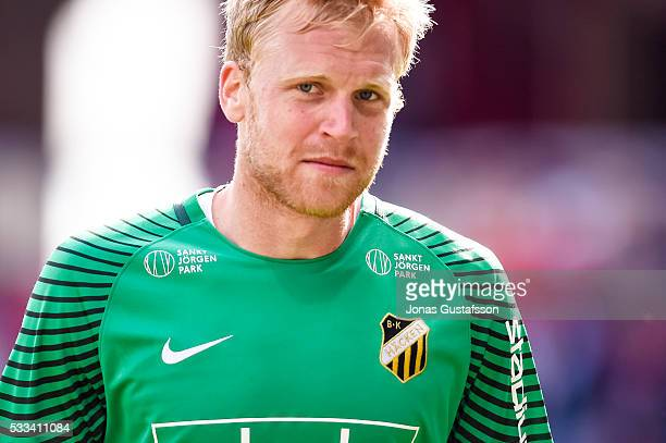 Peter Abrahamsson goalkeeper of BK Hacken reacts during the allsvenskan match between Kalmar FF and BK Hacken at Guldfageln Arena on May 22 2016 in...