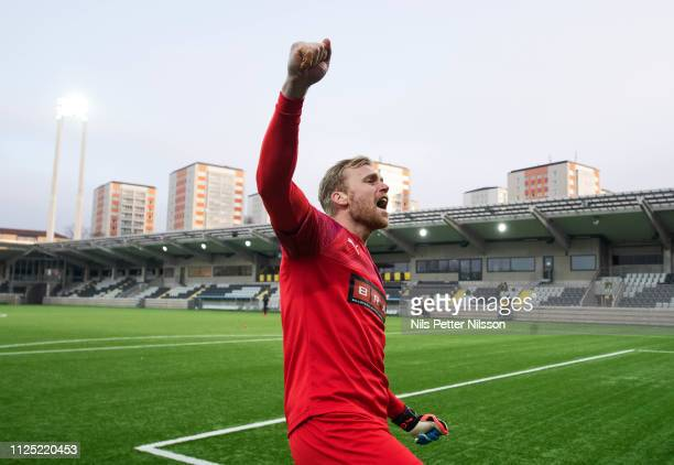 Peter Abrahamsson of BK Hacken celebrates after the victory during the Svenska Cupen group stage match between BK Hacken and IK Brage at Bravida...
