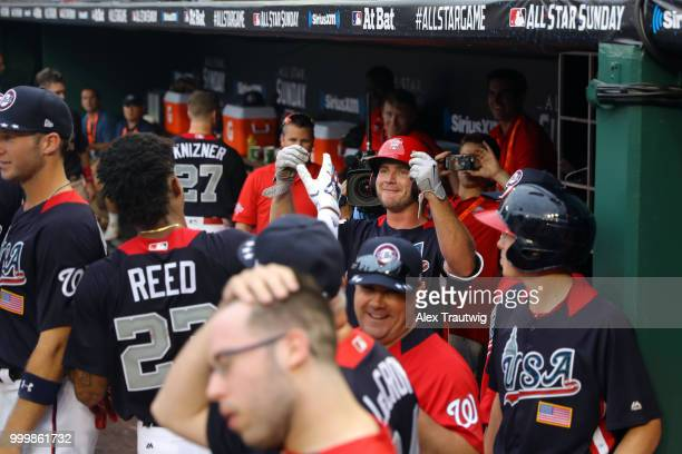 Peter Alonso of Team USA is greeted in the dugout after hitting a tworun home run in the seventh inning during the SiriusXM AllStar Futures Game at...