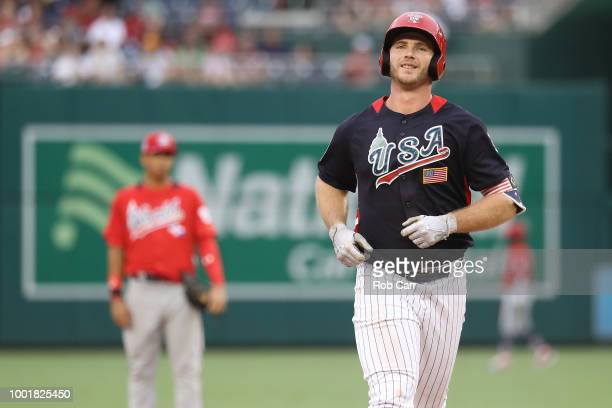 Peter Alonso of the New York Mets and the US Team celebrates after scoring a tworun home run in the seventh inning against the World Team during the...