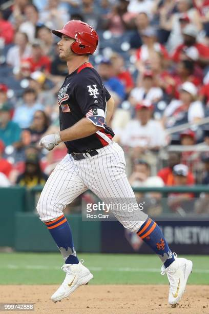 Peter Alonso of the New York Mets and the US Team rounds the bases after scoring a tworun home run in the seventh inning against the World Team...