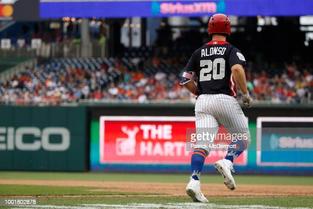 Peter Alonso runs the bases during the SiriusXM AllStar Futures Game at Nationals Park on July 15 2018 in Washington DC