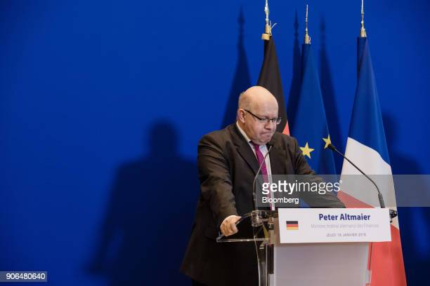Peter Altmaier Germanys acting finance minister pauses during a news conference at the Ministry of Finance in Paris France on Thursday Jan 18 2018...