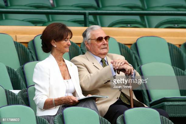 Peter and Jackie Alliss look on from the centre court royal box on day seven of the Wimbledon Lawn Tennis Championships at the All England Lawn...