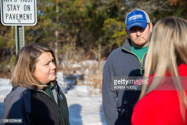 Peter and Kristin Kasinkas speak to the press on January 11 2019 in Gordon Wisconsin one day after missing teenager Jayme Closs was encountered out...
