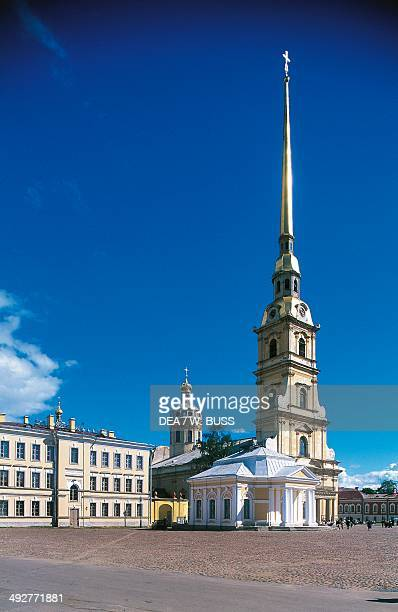 Peter and Paul Cathedral inside the Peter and Paul Fortress on the Neva River 18th century architect Domenico Trezzini St Petersburg Russia