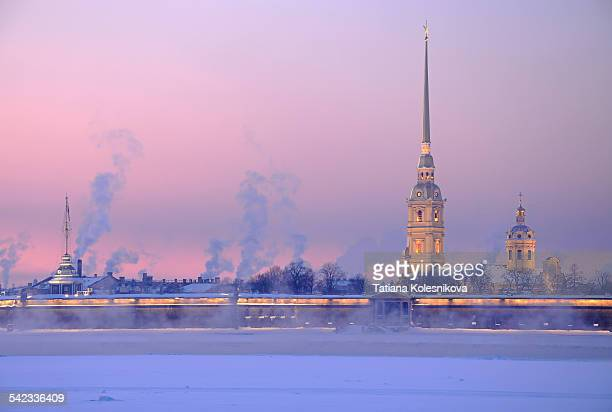 peter and paul cathedral - neva river stock photos and pictures