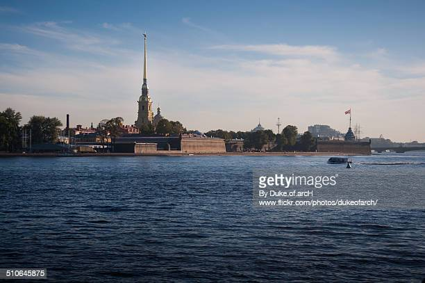 peter and paul fortress : russia - neva river stock photos and pictures