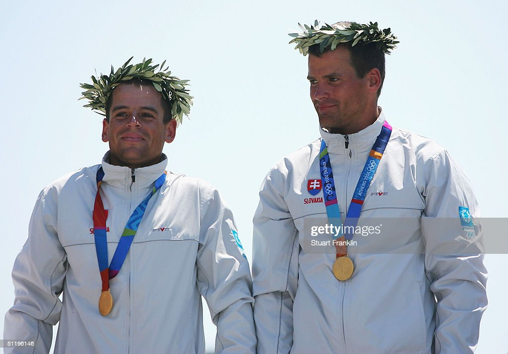 Peter and Pavel Hochschorner of Slovakia receive their medals during ceremonies for the men's C-2 class slalom event on August 20, 2004 during the Athens 2004 Summer Olympic Games at the Schinias Olympic Slalom Centre in Athens, Greece.