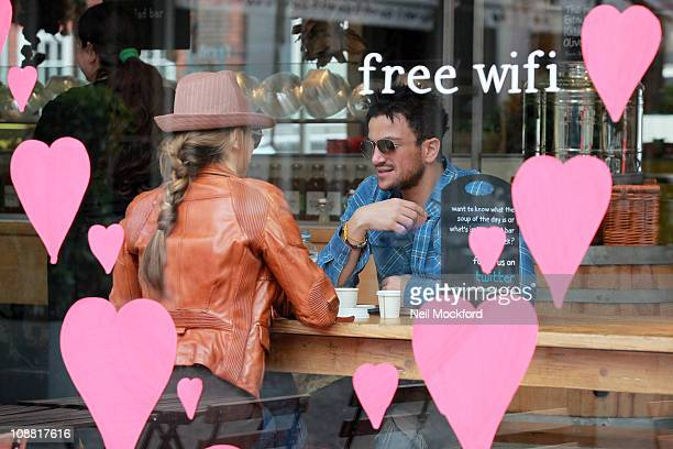 Peter Andre and Elen Rivas seen having a romantic breakfast on February 4 2011 in London England