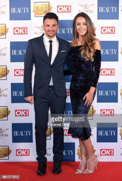 Peter Andre and Emily MacDonagh attend The Beauty Awards at Tower of London on November 28 2017 in London England