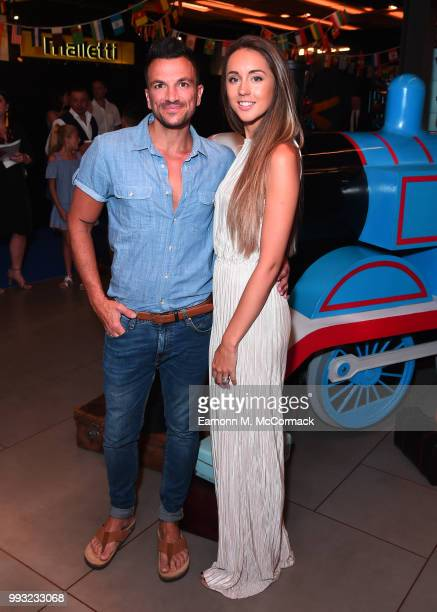 Peter Andre and Emily MacDonagh attend the 'Thomas The Tank Engine' Premiere at Vue West End on July 7 2018 in London England