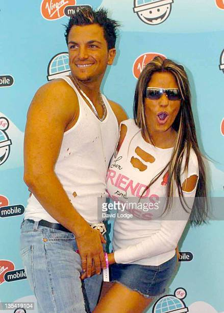 Peter Andre and Jordan during 2004 Big Gay Out Press Room at Finsbury Park in London Great Britain
