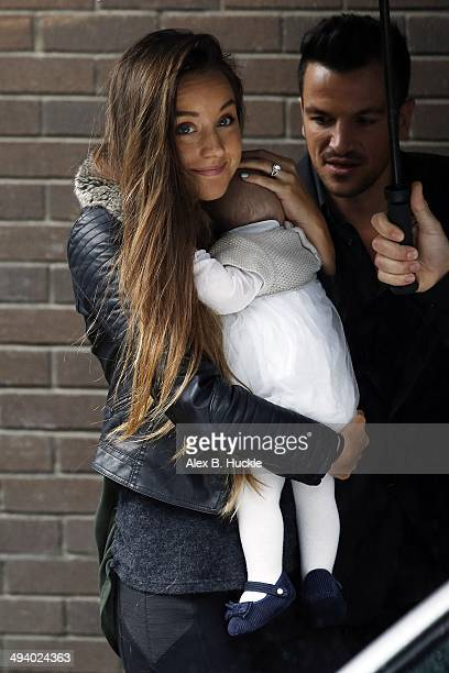 Peter Andre is seen with Fiancee Emily MacDonagh and their daughter Amelia Andre at the ITV Studios on May 27 2014 in London England