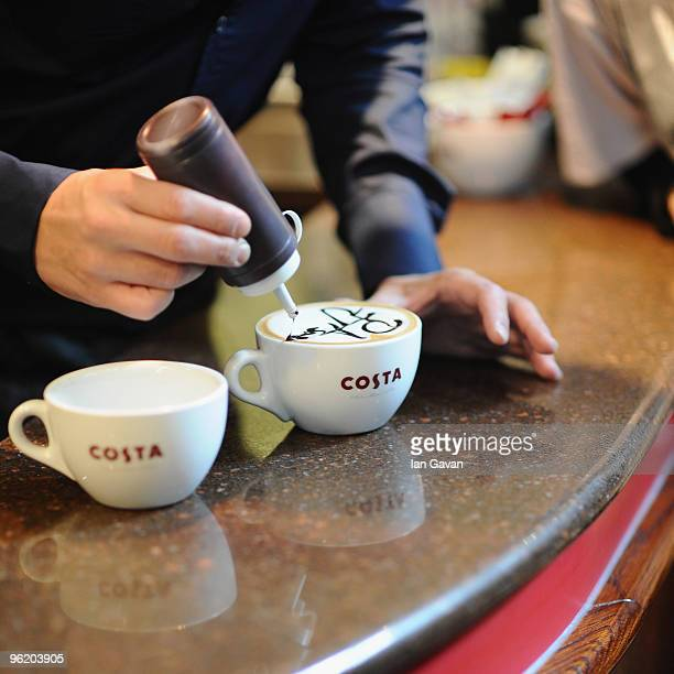 Peter Andre promotes Costa Flat White coffee at a Costa coffee shop in Piccadilly on January 27 2010 in London England