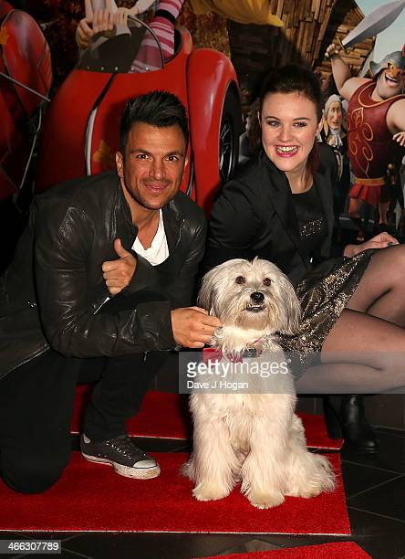 Peter Andre with Ashley Pudsey from Britains Got Talent attend a VIP Gala screening of MR Peabody Sherman 3D at Vue West End on February 1 2014 in...