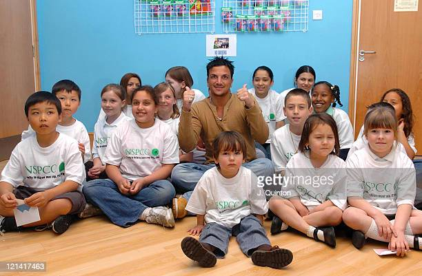 Peter Andre With Young Supporters of the NSPCC during Peter Andre Donates Over 200000 Pounds To The NSPCC on Behalf Of The Full Stop Campaign at...
