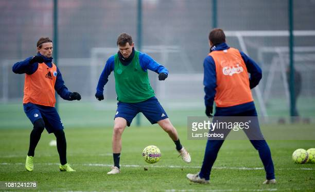 Peter Ankersen and Andreas Bjelland of FC Copenhagen compete for the ball during the FC Copenhagen training session at KB's baner 10'eren on January...