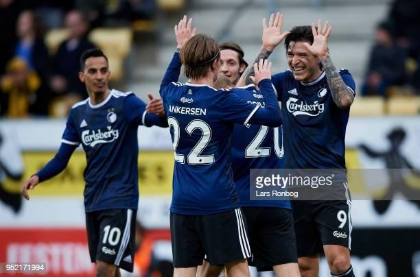 Peter Ankersen and Federico Santander of FC Copenhagen celebrate after scoring their second goal during the Danish Alka Superliga match between AC...