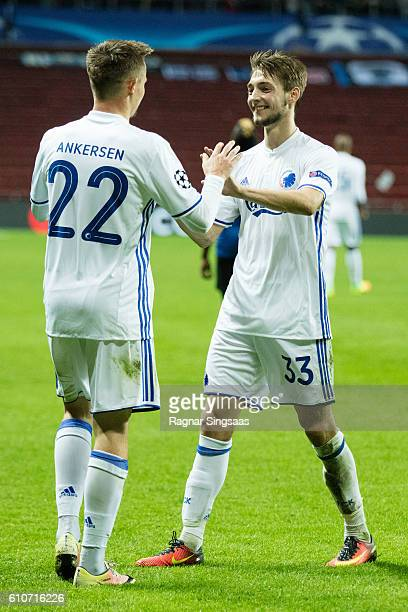 Peter Ankersen and Rasmus Falk of FC Copenhagen celebrate scoring during the UEFA Champions League match between FC Copenhagen and Club Brugge KV at...
