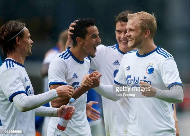 Peter Ankersen Carlos Zeca Robert Skov and Nicolai Boilesen of FC Copenhagen celebrate after the Danish Superliga match between FC Copenhagen and...