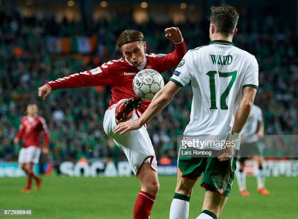 Peter Ankersen of Denmark and Stephen Ward of Republic of Ireland compete for the ball during the FIFA 2018 World Cup Qualifier PlayOff First Leg...