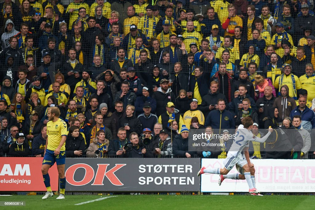 Peter Ankersen of FC Copenhagen and Benjamin Verbic of FC Copenhagen celebrate after the 0-1 goal from Benjamin Verbic during the Danish Alka Superliga match between Brondby IF and FC Midtjylland at Brondby Stadion on April 17, 2017 in Brondby, Denmark.