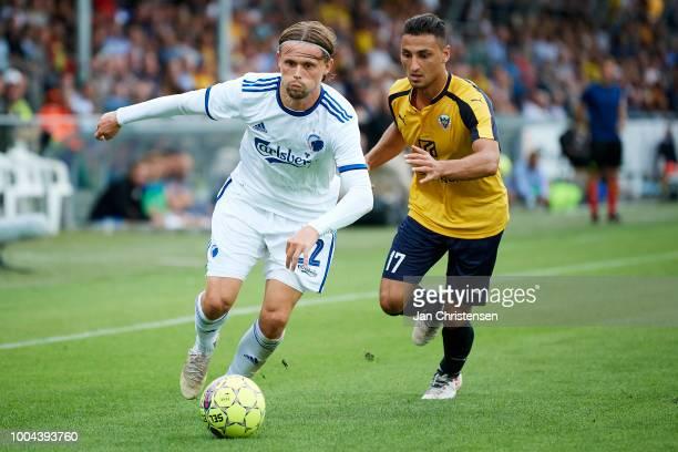 Peter Ankersen of FC Copenhagen and Edgar Babayan of Hobro IK compete for the ball during the Danish Superliga match between Hobro IK and FC...