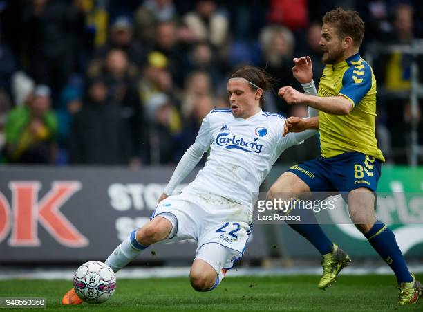 Peter Ankersen of FC Copenhagen and Kasper Fisker of Brondby IF compete for the ball during the Danish Alka Superliga match between Brondby IF and FC...