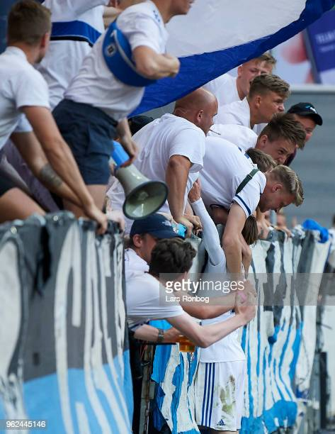 Peter Ankersen of FC Copenhagen celebrates with the fans after scoring their third goal during the Danish Alka Superliga Europa League Playoff match...