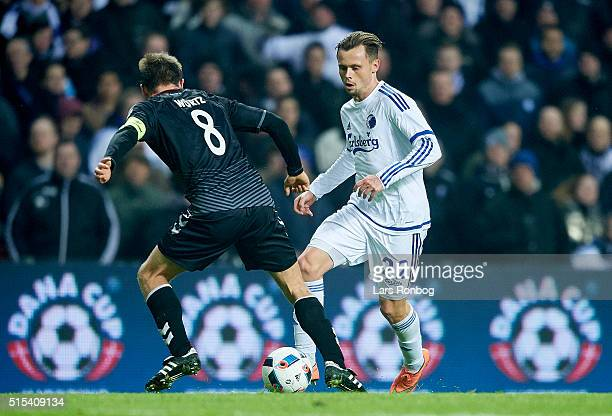 Peter Ankersen of FC Copenhagen in action against Rasmus Wurtz of AaB Aalborg during the Danish Alka Superliga match between FC Copenhagen and AaB...