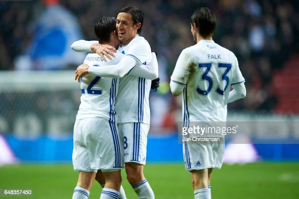 Peter Ankersen of FC Copenhagen Uros Matic of FC Copenhagen and Rasmus Falk of FC Copenhagen celebrates the 20 goal from Peter Ankersen during the...