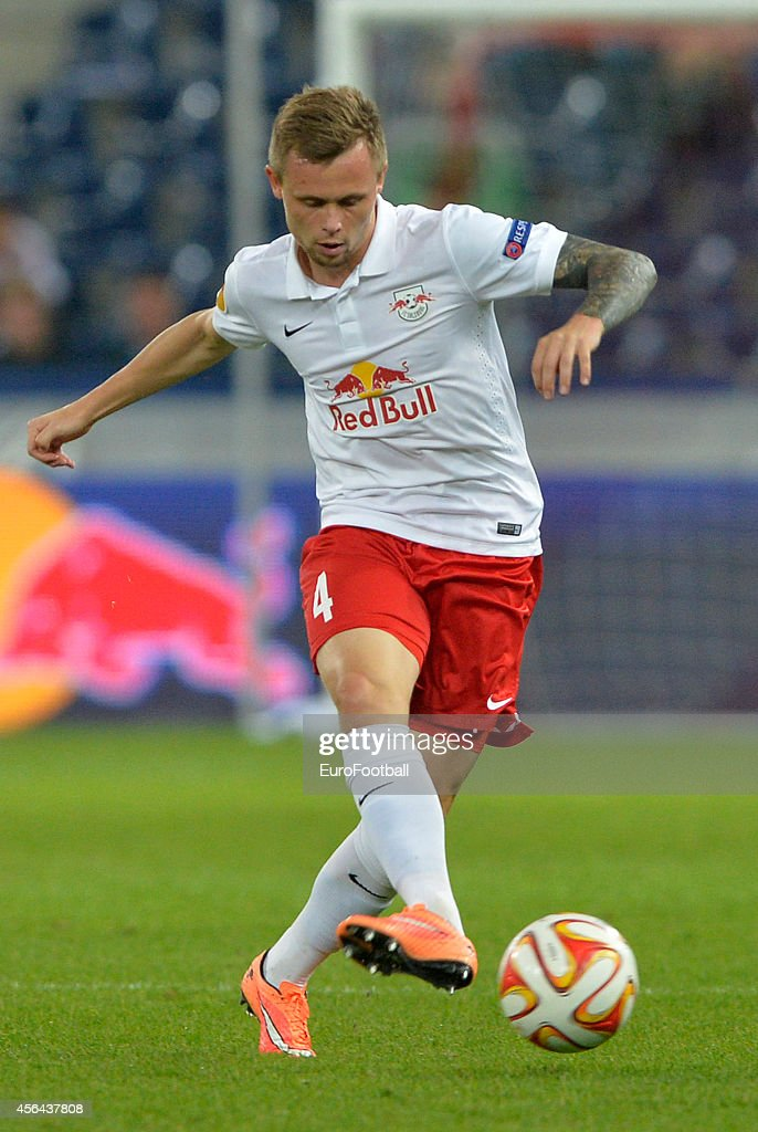 Peter Ankersen of FC Salzburg in action during the UEFA Europa League Group D match between FC Salzburg and Celtic FC on September 18, 2014 in Salzburg,Austria.
