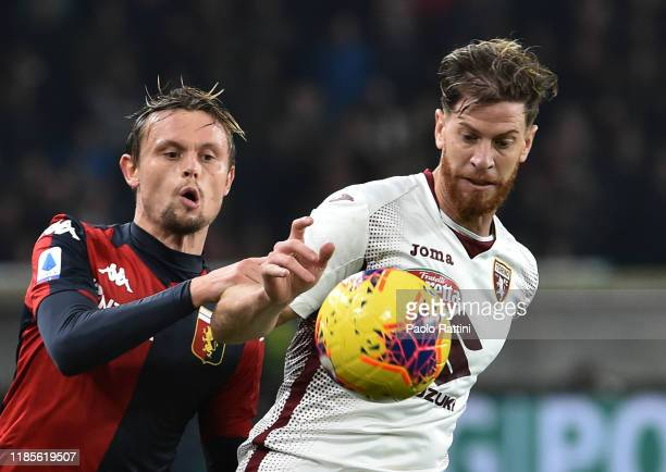 Peter Ankersen of Genoa CFC and Cristian Ansaldi of Torino FC during the Serie A match between Genoa CFC and Torino FC at Stadio Luigi Ferraris on...