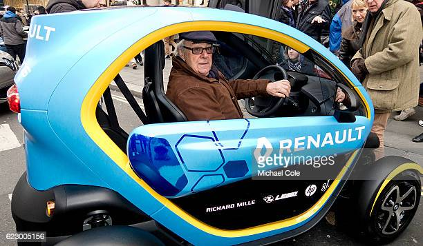 Peter Anthony tries out the Renault 'Twizzy' car on show at Regent Street on November 5 2016 in London England
