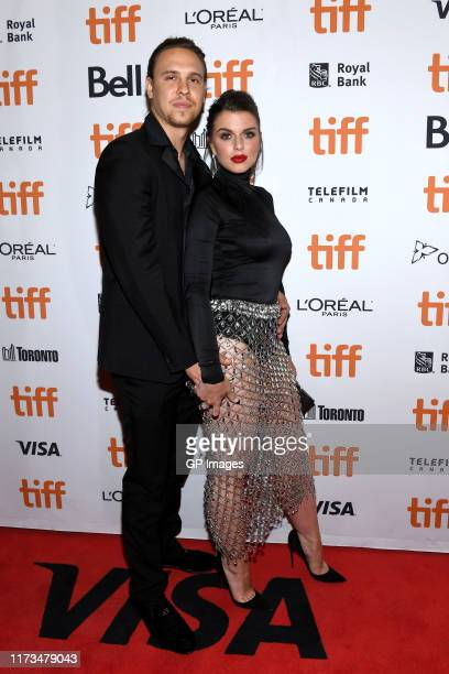 """Peter Artemiev and Julia Fox attend the """"Uncut Gems""""premiere during the 2019 Toronto International Film Festival at Princess of Wales Theatre on..."""