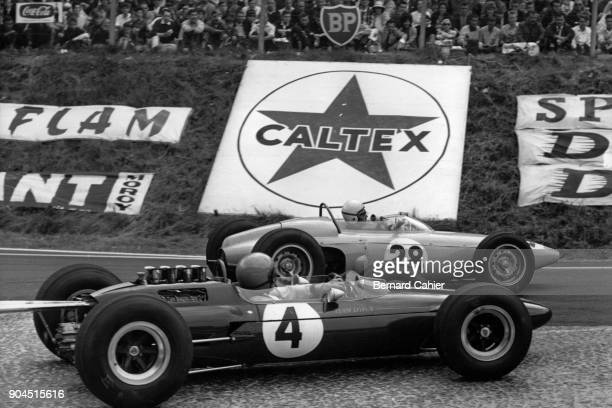 Peter Arundell Maurice Trintignant LotusClimax 25 BRM P57 Grand Prix of France RouenLesEssarts 28 June 1964