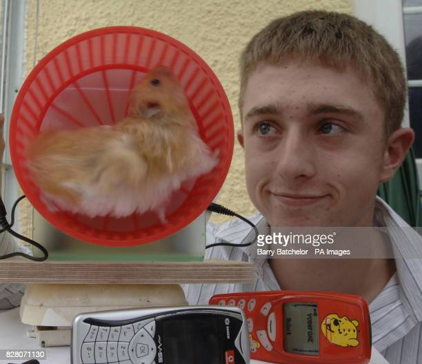 Peter Ash 16 with his hamster powered mobile phone charged 'Elvis' at his home in Lawford Somerset See PA Story Peter Ash came up with the idea after...